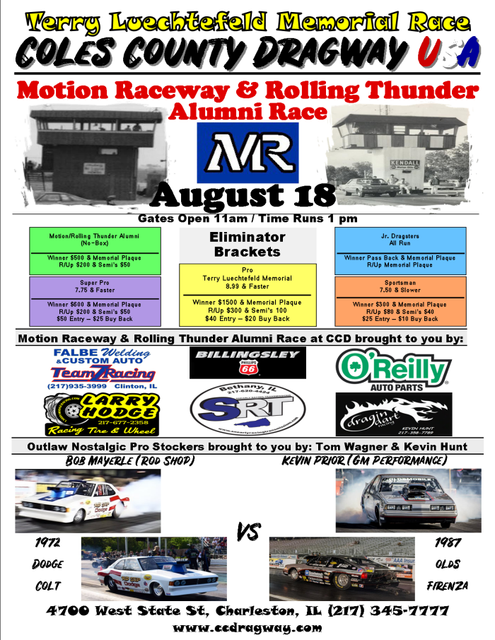 graphic relating to Thunder Schedule Printable referred to as Coles County Dragway - Unique Races - Movement Rolling